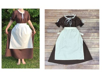 Complete Outfit - Girls Size 6/8 Pioneer Trek Colonial Frontier Prairie Pilgrims Renaissance Reenactment Civil War Dress Costume