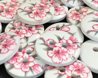 6 Pretty Floral Wooden Buttons, Flowers, Spring, Summer