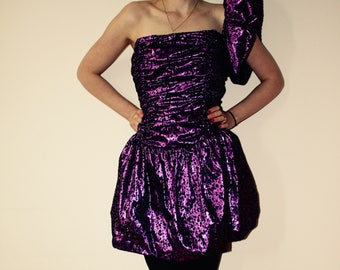 Vintage prom dress metallic purple panther print