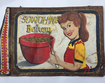 SALE 49.99 Antique Signs Kitchen Sign antique advertising sign Antique Kitchen Sign Vintage Sign Hand Painted Metal Retro Advertising Sign