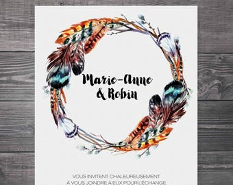 Wedding Invitation, Announcement 5x7 in with envelope A7 - Bohemian, crown, feathers, branches, modern, blue, brown