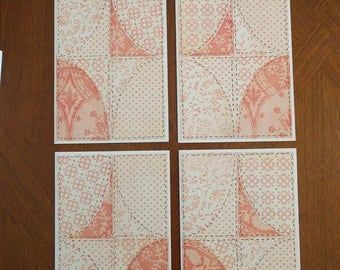 Set of 4 patchwork quilt look cards - Blank Inside