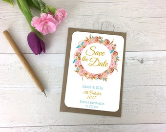 Gold Floral Save The Date- Save The Date -Weddings -Wedding Annoucement- Floral Bookmark -Wedding -Wedding Stationary