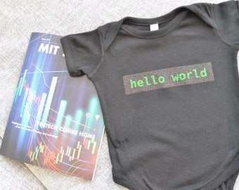 Glitter Black Techie Hello World Onesie