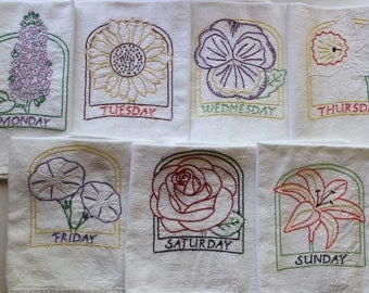 Hand Embroidered Tea Towels - Embroidered Tea Towels - Days of the Week - Set of 7 - Flowers