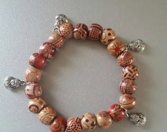 Wooden Buddha charm Beads Bracelet