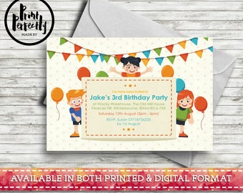 Boys and Girls Balloons and Bunting  - Luxury Childrens Customised Birthday Party Invitations (Printed & Digital)