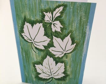 "5"" x 7"" Greeting Card, Maple Leaves, Print of Original Acrylic Painting"