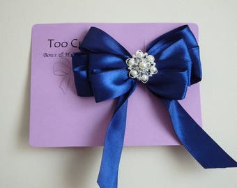 Navy Blue Satin Hair Bow with Pearl and Rhinestone embellishment