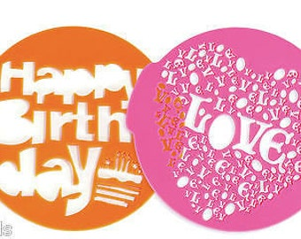 Happy Birthday & Love Heart Cake Decorating Icing Sugar Stencil  baking  pattern