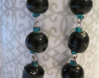 Big Black and Little Green Beaded Earrings