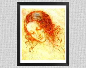 Head of Leda from Leonardo Da Vinci sketch as a digital watercolor, renaissance art download