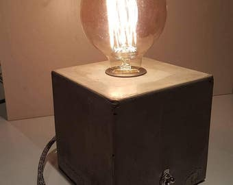 Concrete cube lamp