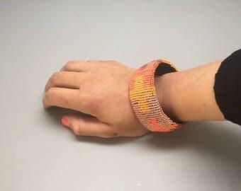 Tangerine orange coral and peach  handmade beaded bracelet