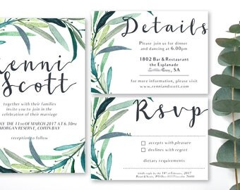 wedding set, eucalyptus, greenery, wedding invitations, birthday invitations, rsvp, details cards, country wedding, rustic wedding