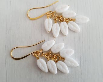Vintage white glass beads, wire wrapped, gold plated earrings.