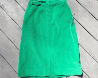 Vintage Kelly Green Corduroy Skirt, Small