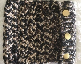 Chunky Cowl with Gold Buttons