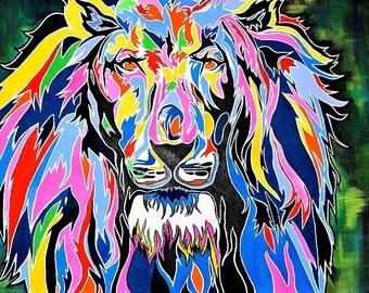 Hear me Roar - Acrylic painting of multi coloured lion