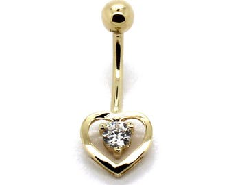 14K Yellow Gold Open Heart Belly Ring with Round CZ