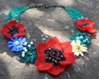 "Necklace-collar ""Summer, Poppies"""