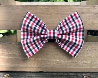 Red and Black Gingham Dog bow tie