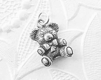 Teddy Bear Charm, 925 Sterling Silver, Silver Bear Charm, Baby Bear Pendant, Silver Jewelry Charm, 14mm x 10mm, SS032