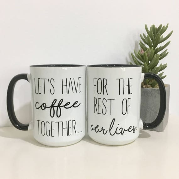 Best Wedding Gift For Couple: Couples Coffee Mug Set-Engagement Gift Idea-Wedding