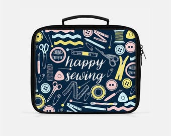 Sewer Lunch Box, Sewing Lunch Box, Gifts for Sewers, Seamstress Lunch Box, Blue Lunch Box, Lunch Box Adult, Insulated Lunch Bag, Sewing Gift