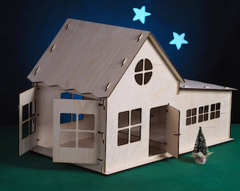 Birch plywood single storey dollhouse with a garage for handicraft and play