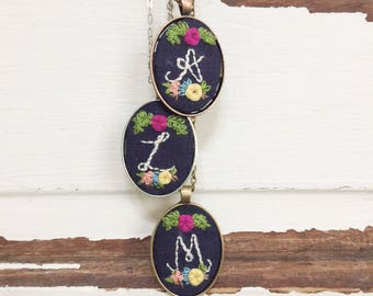 Personalized Initial Necklace. Hand Embroidery Necklace. Custom Embroidered. Initial Pendant. Necklace Colorful. Bridal party gift