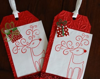 Embossed Reindeer large gift tags