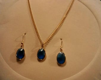 Handmade Blue Stones Gold Toned Necklace and Earrings Set