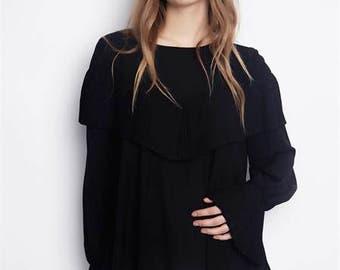 Black Chiffon Long Sleeves Women Loose Top/Long Sleeves Maxi Black Blouse