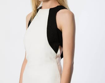 Extravagant Backless Ivory and Black Sleeveless Knee Length Dress/Party Dress