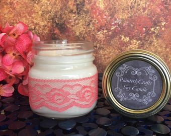 Pink GrapeFruit, 8oz Soy Candle, Scented Soy Candle, Hand Poured, Mason Jar, Pink Lace