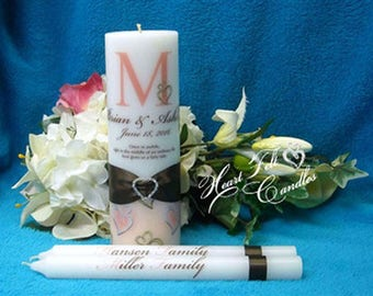Unique Unity Candle - Wedding Ceremony Set - Double Heart Flourish Unity Candle Set -Personalized Candles