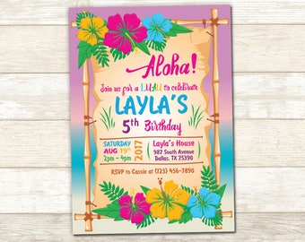 Aloha Birthday Invitation - LUAU Birthday Invite - Luau Party invitation - Aloha Luau Birthday Invitation - Aloha Luau invitation