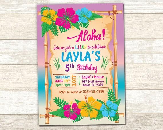 aloha birthday invitation luau birthday invite luau party