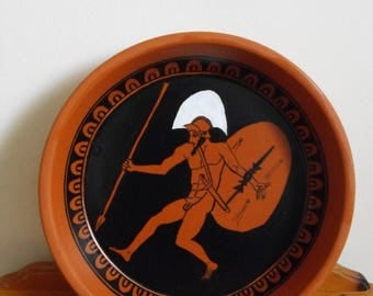 Terracotta plate, Hector, ancient Greek pottery,replica. plate diameter 29 cm.