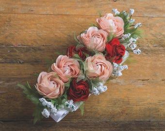 peach headband, beautiful, read roses, fabric flowers, headband, corsage, hand made, bridal, wedding, evening, satin, luxury, haute couture