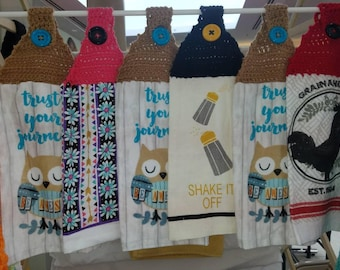Kitchen towels-towel topper- crochet towel-holiday gift - gift for her -customize -to match kitchen-hanging towel - towel with button