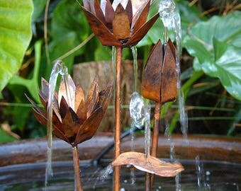 Copper Water Lily Cluster