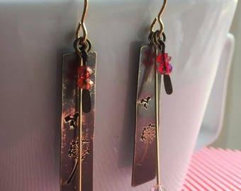 Antique brass dandelion stamped earrings