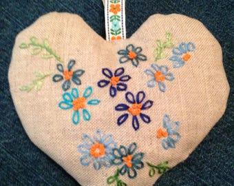 Linen hand embroidered lavender bag