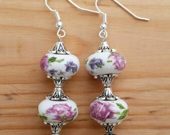 Floral Earrings - Dangle, Vintage Inspired, Pink Flowers