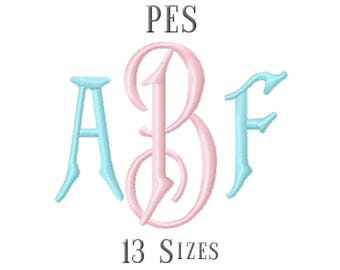13 SIZE PES Fonts Carson Monogram Embroidery Fonts Embroidery Designs Embroidery Alphabets Letters Monogram Fonts - Instant Download
