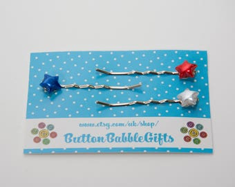 Set of 3 STAR Bobby HAIRGRIPS Patriotic Red White and Blue Hair Accessories Jewellery, ButtonBabbleGifts