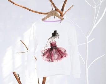 Sweatshirt with watercolor ballerina print - Ballerina print - Women wear - Watercolor prints
