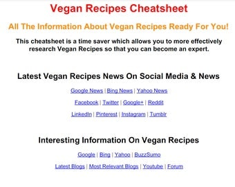 Vegan Recipes PDF Cheat Sheet